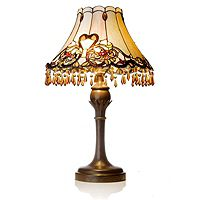 826313  Tiffany Style Handcrafted Amber Beaded Table Lamp