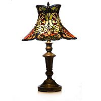 825423  Tiffany Style Handcrafted Jewelled Forest Table Lamp