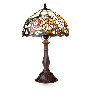 Tiffany Style Handcrafted Rose Table Lamp