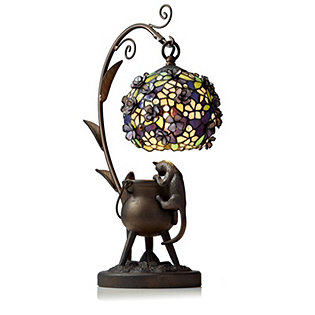 tiffany style handcrafted curious cat lamp. Black Bedroom Furniture Sets. Home Design Ideas