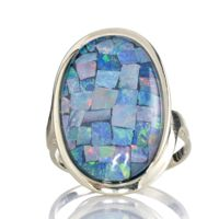 10ct Australian Mosaic Opal Triplet Ring 9ct Gold