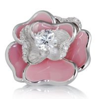 Diamonique 1ct tw Pink Enamel Romantic Rose Ring Sterling Silver