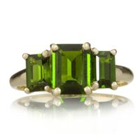 2ct Russian Diopside 3 Stone Emerald Cut Ring 9ct Gold