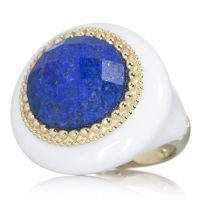 Lapis And White Agate Statement Ring 9ct Gold