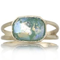 Roman Glass 9ct Gold Bezel Set Ring
