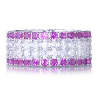 Diamonique 3.3ct tw Glitter Full Eternity Ring Sterling Silver