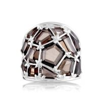 Mischa by Design Smokey Quartz Dome Ring Sterling Silver