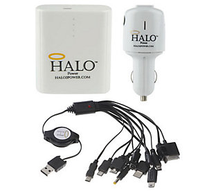 Halo Power Portable Charging Unit w/ 12 Adapters & Car Charger